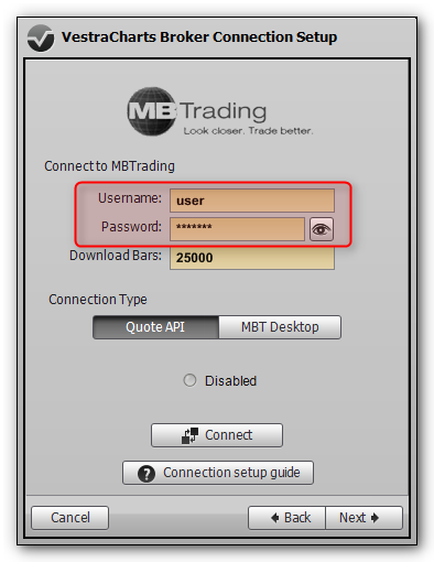 MBTrading connection setup dialog in VestraCharts